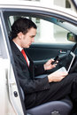 Business man inside a car Royalty Free Stock Photo