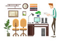 Business Man Interior Workplace, Businessman Manager Office Worker