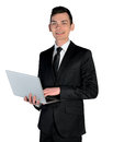 Business man with laptop isolated Stock Images