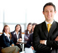 Business man leading a team Royalty Free Stock Photo