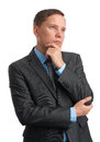 Business man looking away and thinking Royalty Free Stock Image