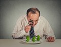 Business man looking through magnifying glass at dollar signs Royalty Free Stock Photo