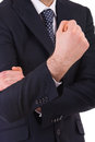 Business man making offensive hand gesture Stock Images