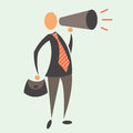 Business man with megaphone in vector big announcement Stock Photos
