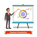 Business man mentor delivering presentation speech pointing on donut pie chart slide flat style vector illustration isolated on Stock Photos