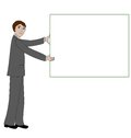 Business man with message board holds up a blank sign or Royalty Free Stock Photography