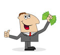 Business man with money in his hands on white background Royalty Free Stock Photo