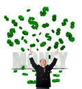 Business man in a money rain Stock Photo