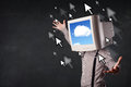 Business man with a monitor on his head cloud system and pointe pointers the screen dark background Stock Images