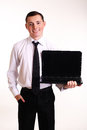 Business man with notebook Royalty Free Stock Photos