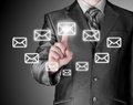 Business man open email by press mail icon on touch screen Royalty Free Stock Photos