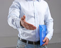 Business man with an open hand ready handshake Royalty Free Stock Photo