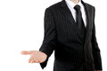 Business man with open stretched hand Royalty Free Stock Photo