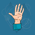 Business man palm hand five fingers gesture over triangle geometric background flat vector illustration Royalty Free Stock Photography