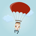 Business man with parachute funny illustration of a Royalty Free Stock Photography