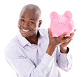 Business man with a piggybank happy isolated over white background Stock Photography