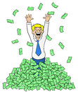 Business man with a pile of money vector illustration cartoon Stock Photo