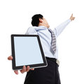 Business man pointing copy space with touch pad Stock Image