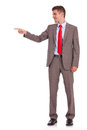 Business man pointing at copyspace Royalty Free Stock Photo