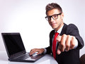 Business man pointing his finger Stock Image