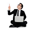 Business man pointing up isolated Royalty Free Stock Photos
