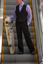 Business man portrait with a long board Royalty Free Stock Image