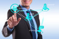 Business man pressing modern social buttons Royalty Free Stock Photos