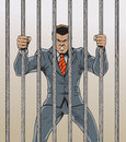 Business man prisoner super villain who is angry and behind bars Stock Images