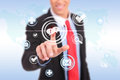 Business man pushing a chat button Royalty Free Stock Photos