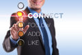 Business man pushing connect button Royalty Free Stock Photo
