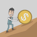 Business man pushing a huge coin with dollar sign uphill