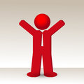 Business man raises his arm fist up in gesture of success vector illustration Stock Photo