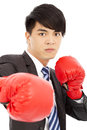 Business man ready to fight with boxing gloves white background Royalty Free Stock Photo