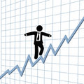 Business man risk tightrope growth chart Royalty Free Stock Photography