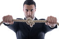 Business man with rope isolated Stock Photo