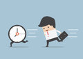 Business man run follow the clock Royalty Free Stock Photo