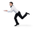 Business man run with something hold in hand Royalty Free Stock Image