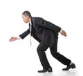 Business man running asian full length isolated on white Royalty Free Stock Photo
