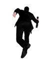 Business man running away isolated Stock Images