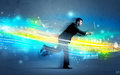 Business man running in high tech wave concept Royalty Free Stock Photo