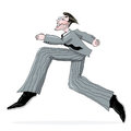 Business man running illustration in a suit freehand drawing isolated Stock Photo