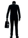 Business man sad standing rear view silhouette Royalty Free Stock Photo