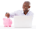Business man saving online money isolated over white Stock Images