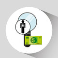 Business man searching money digital design