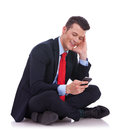 Business man sending or reading a text message Stock Photography