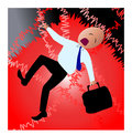 Business man in shock a falling down because of failure Stock Image