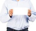 Business man showing blank envelope isolated over white background you can put your message on the Royalty Free Stock Photography