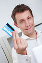 Business man showing credit card Royalty Free Stock Photography