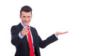 Business man showing and pointing Royalty Free Stock Photo