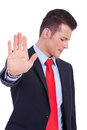 Business man showing stop gesture Stock Photo